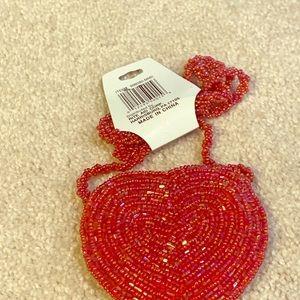 Beaded heart coin purse